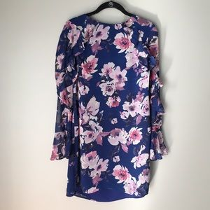 Charles Henry Floral Dress With Sheer Sleeves